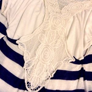 White Top with Striped Crochet Back Cardigan